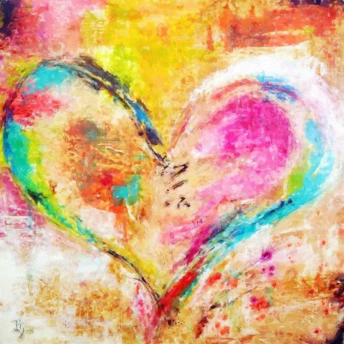 №0339, Сърце - абстракция. Картина - репродукция с ръчно добавен релефен финиш