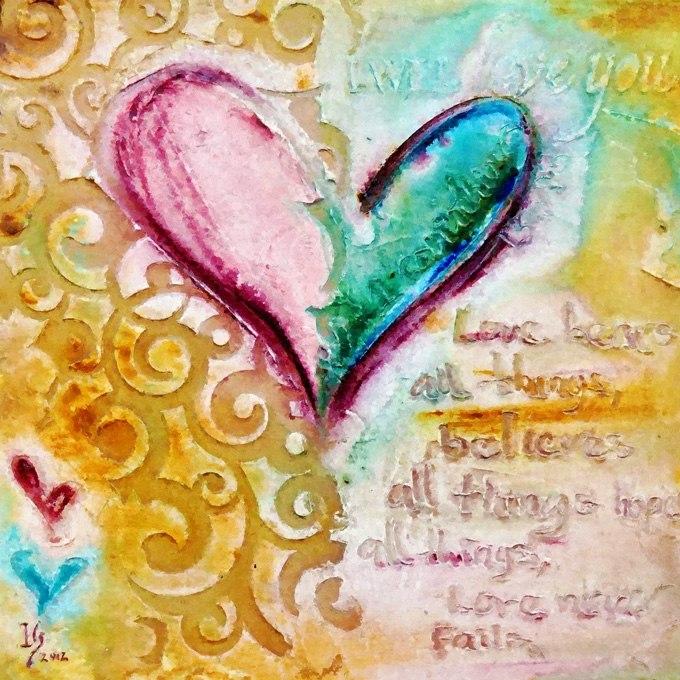 №0341, Обичам те. Абстракция със сърце. Картина - репродукция с ръчно добавен релефен финиш