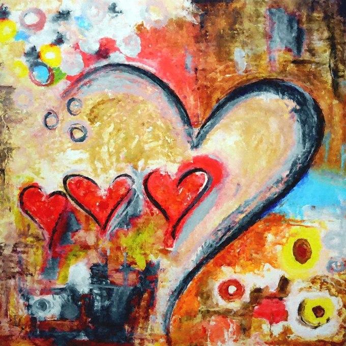 """№0342, """"Моите сърца"""" - романтична абстракция със сърца. Картина - репродукция с ръчно добавен релефен финиш"""