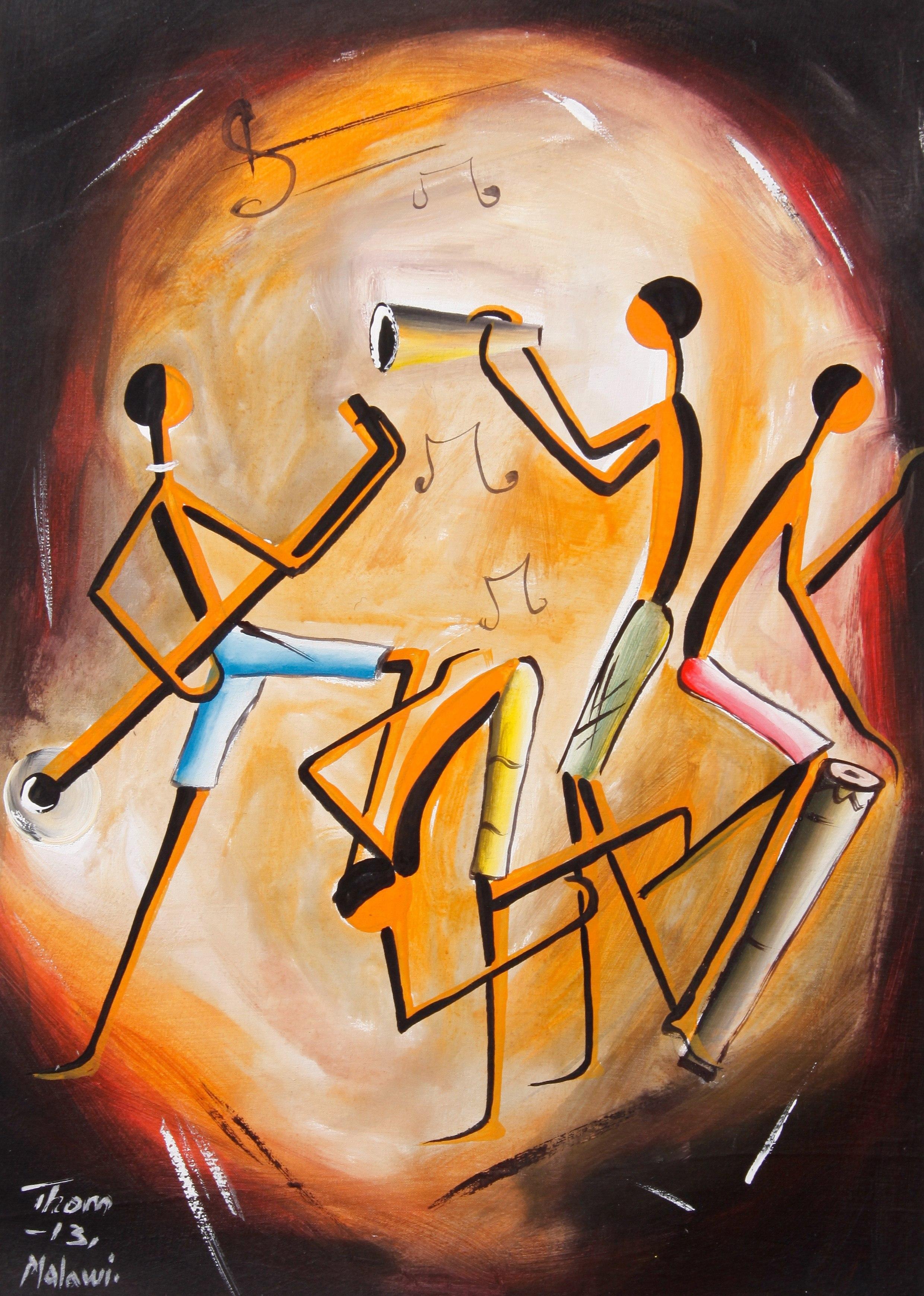 №0373, Танцуващи музиканти. Картина - репродукция с ръчно добавен релефен финиш