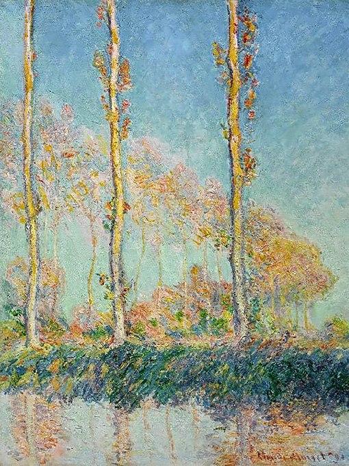 """№0385 """"Тополите"""" от Клод Моне, Картина - репродукция с ръчно добавен релефен финиш"""
