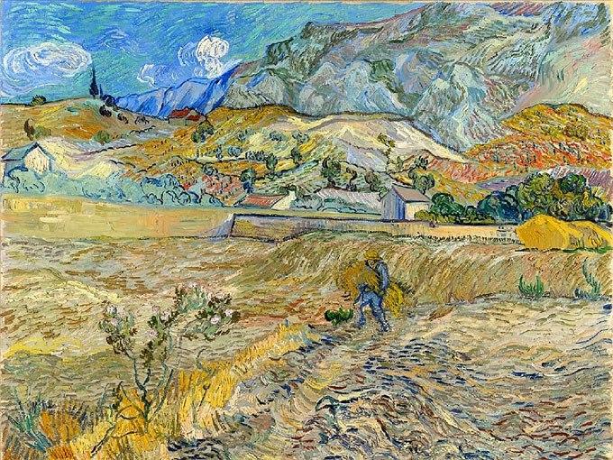 """№0387 """"Пейзаж в Сейнт Реми"""" от Ван Гог. Картина - репродукция с ръчно добавен релефен финиш"""