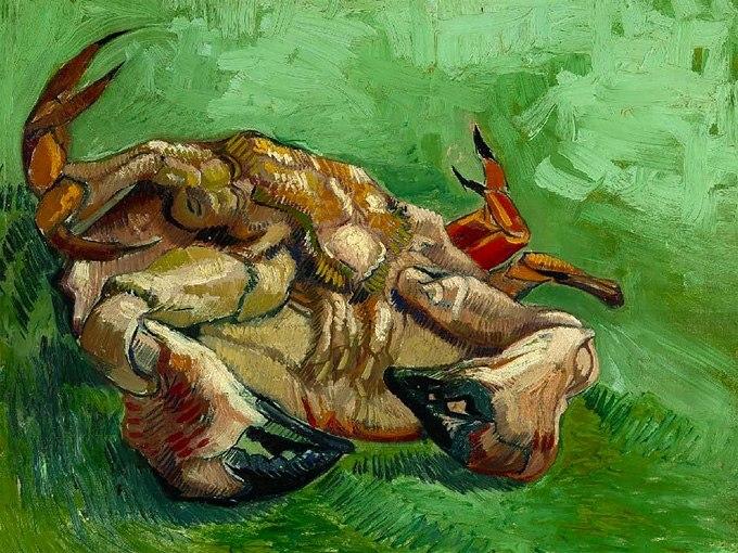 """№0406 """"Рак по гръб"""" от Ван Гог. Картина - репродукция с ръчно добавен релефен финиш"""