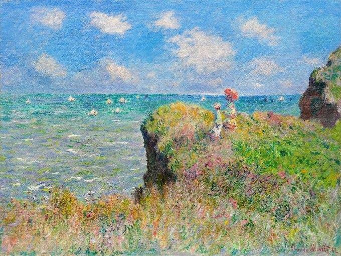 """№0414 """"Разходка по скалите в Пурвил"""" от Клод Моне .Картина - репродукция с ръчно добавен релефен финиш"""