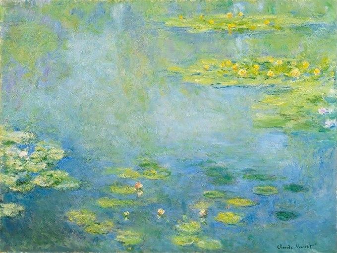 """№0417 """"Водни лилии"""" от Клод Моне. Картина - репродукция с ръчно добавен релефен финиш"""