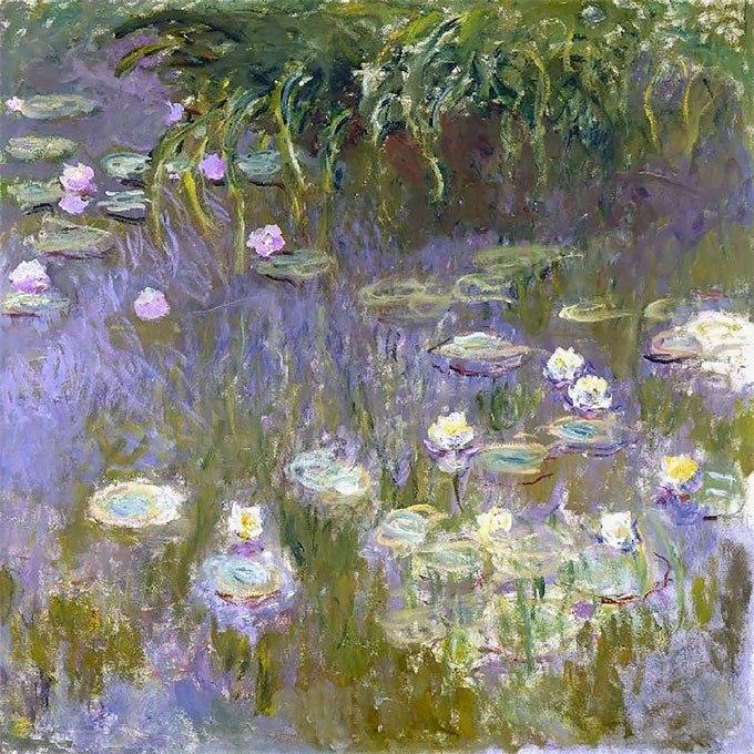 """№0419 """"Водни лилии"""" от Клод Моне. Картина - репродукция с ръчно добавен релефен финиш"""