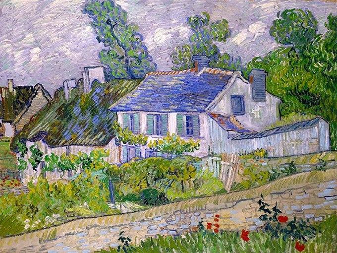 """№0424 """"Къщи в Овер"""" от Ван Гог. Картина - репродукция с ръчно добавен релефен финиш"""