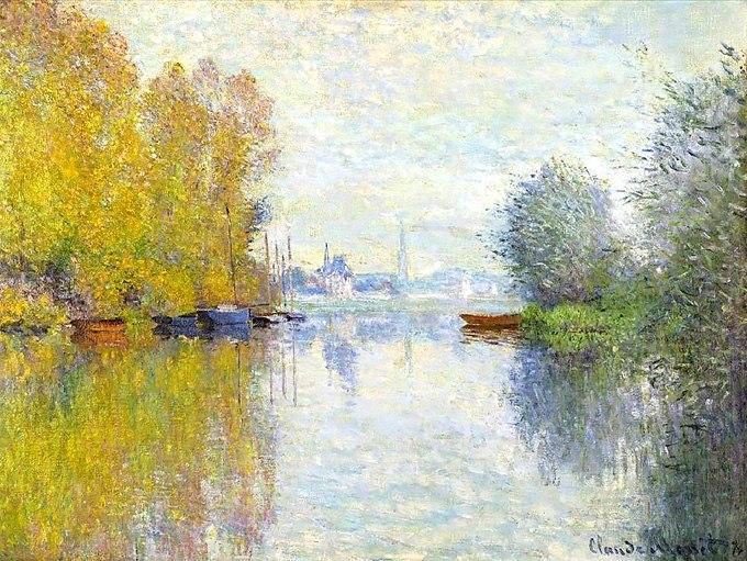 """№0407 """"Есен по река Сена"""" от Клод Моне. Картина - репродукция с ръчно добавен релефен финиш"""