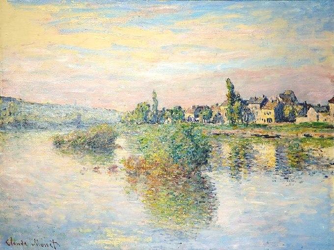 """№0411 """"Крайбрежието на река Сена в Лавакур"""" от Клод Моне. Картина - репродукция с ръчно добавен релефен финиш"""