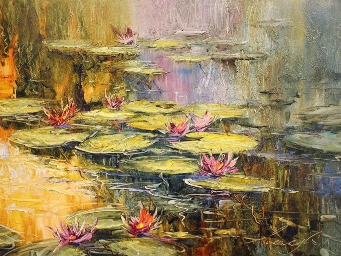 """№0427 """"Златните водопади 2"""". Картина - репродукция с ръчно добавен релефен финиш"""