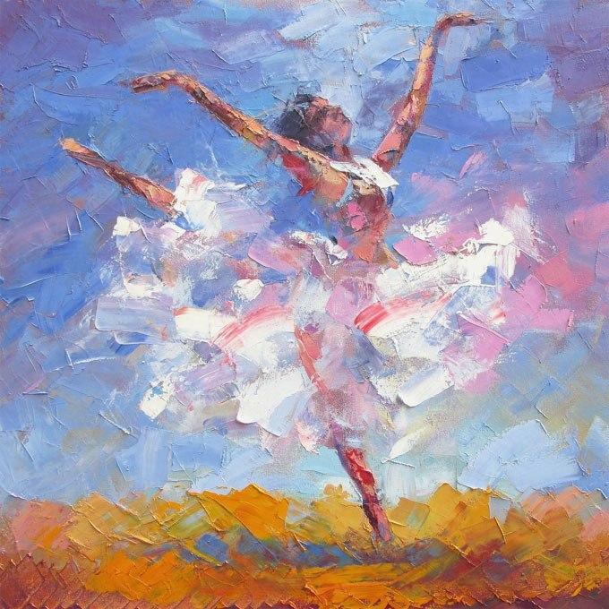 """№0439""""Балерина"""".Картина - репродукция с ръчно добавен релефен финиш"""