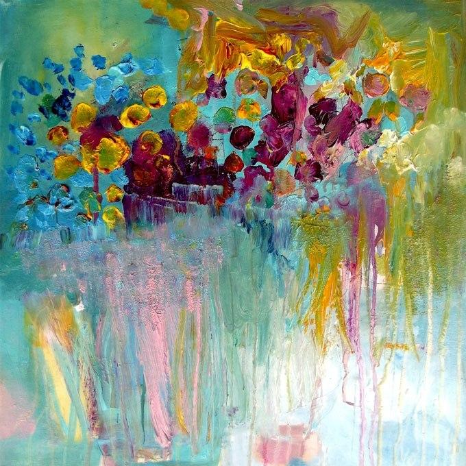 """№0444 """"Абстрактция от цветове"""". Картина - репродукция с ръчно добавен релефен финиш"""