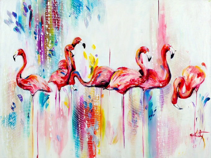"""№0460 """"Фламинги"""". Картина - репродукция с ръчно добавен релефен финиш"""
