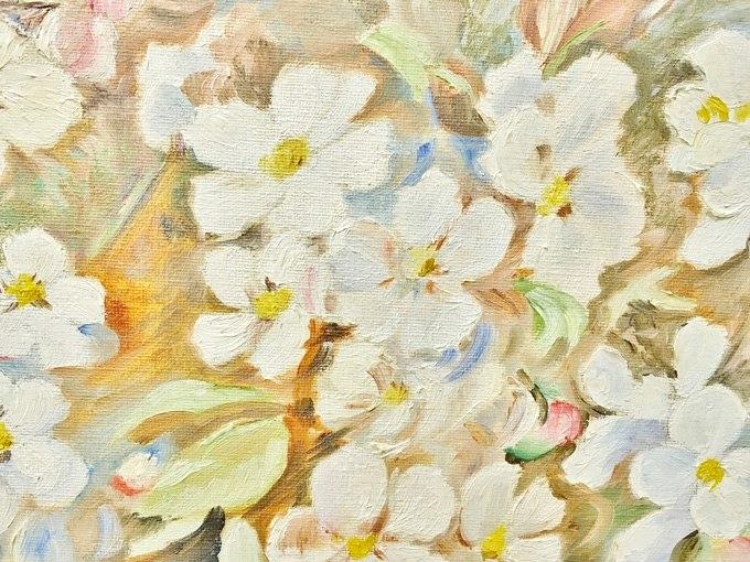 """№0467 """"Бели цветя"""". Картина - репродукция с ръчно добавен релефен финиш"""