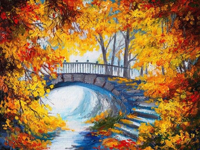 """№0468 """"Есенни дървета"""". Картина - репродукция с ръчно добавен релефен финиш"""