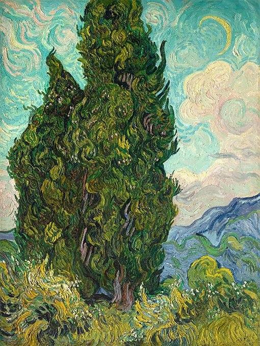 """№0469 """"Кипариси"""" от Ван Гог. Картина - репродукция с ръчно добавен релефен финиш"""