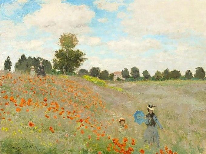 """№0482 """"Маково поле"""" от Клод Моне. Картина - репродукция с ръчно добавен релефен финиш"""