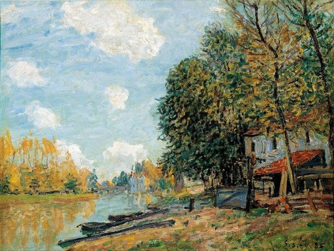 """№0527 """"Бреговете на река Лоинг"""" от Алфред Сисле. Картина с ефектен ръчен релефен финиш"""