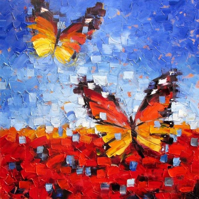 """№0545 """"Пеперуди"""". Картина с ефектен ръчен релефен финиш"""