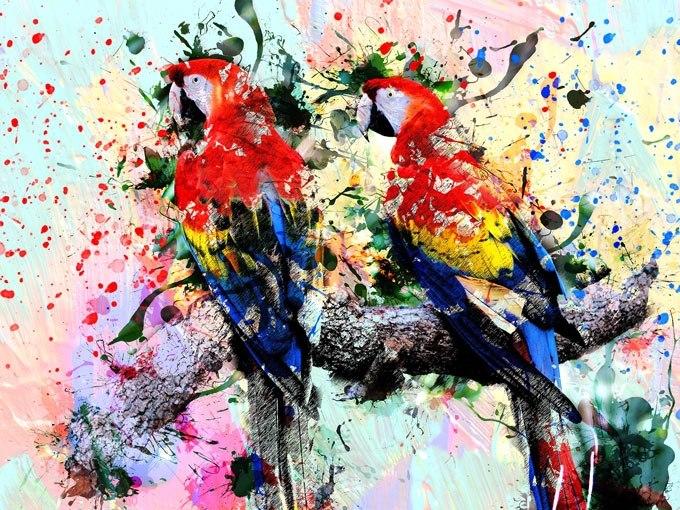 """№0570 """"Птици"""". Картина с ефектен ръчен релефен финиш"""