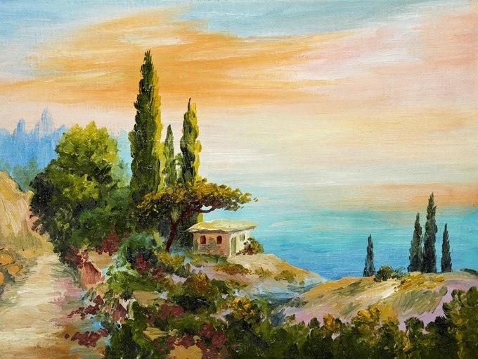 """№0603 """"Къща край скалите"""". Картина с ефектен ръчен релефен финиш"""