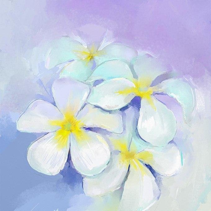 """№0608 """"Бялото цвете"""". Картина с ефектен ръчен релефен финиш"""