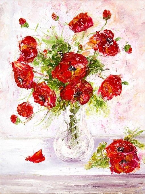 """№0600 """"Букет рози III"""". Картина с ефектен ръчен релефен финиш"""