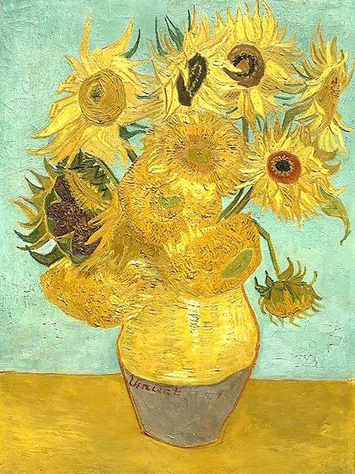 """№0394 """"Слънчогледи"""" от Ван Гог. Картина - репродукция с ръчно добавен релефен финиш"""