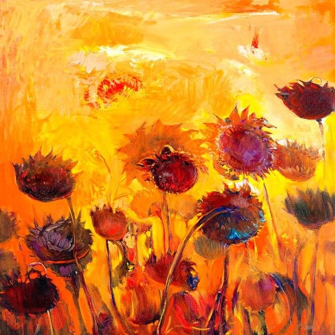"""№0589 """"Цветя"""". Картина с ефектен ръчен релефен финиш"""