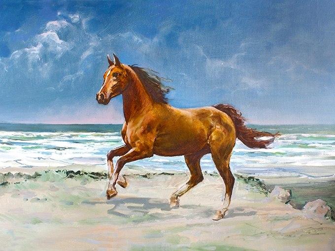 №0626 Кон на плажа. Картина с ефектен ръчен релефен финиш