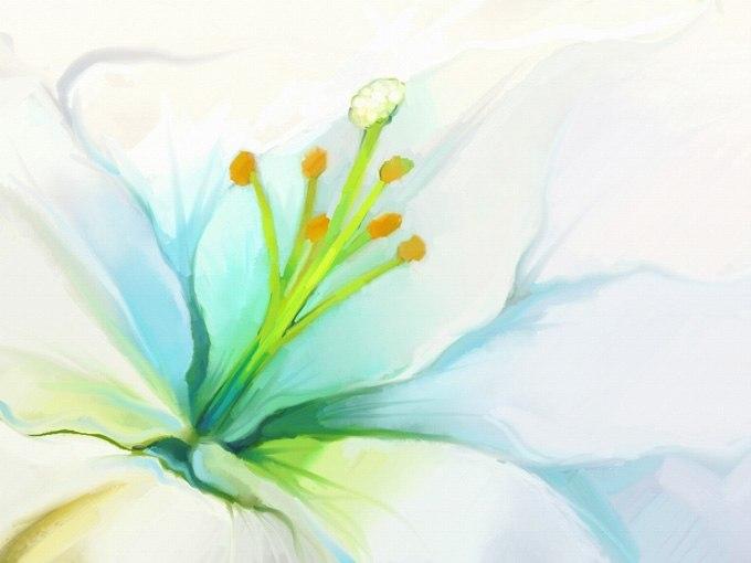 №0663 Бяло цвете. Картина с ефектен ръчен релефен финиш