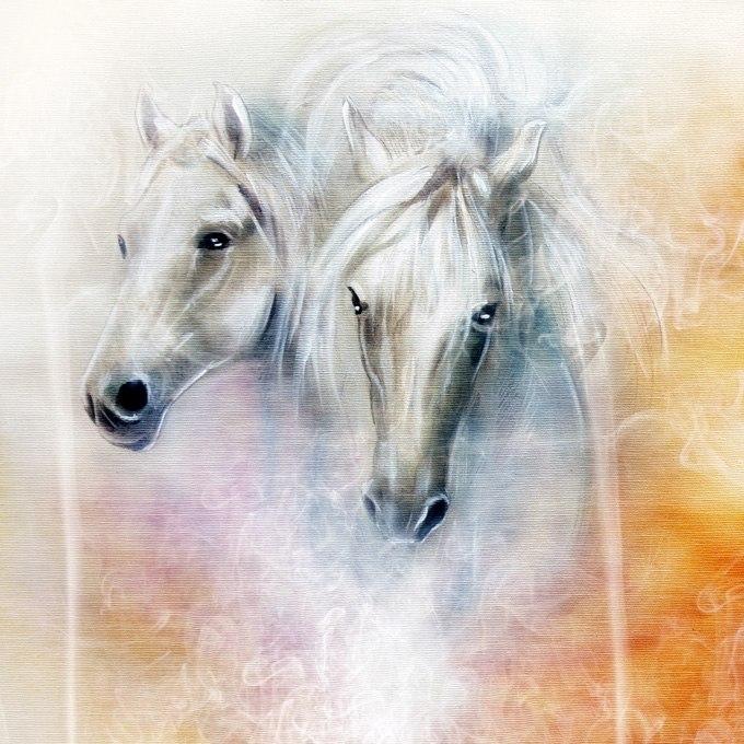 №0669 Двойка II. Бели коне. Картина с ефектен ръчен релефен финиш
