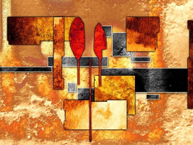 №0677 Абстракция астрално сближаване IV. Картина с ефектен ръчен релефен финиш