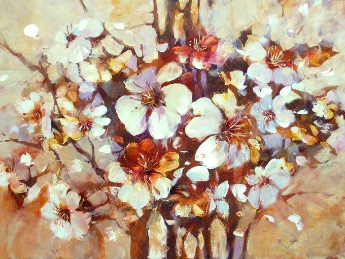 №0683 Пролетен цвят I. Картина с ефектен ръчен релефен финиш