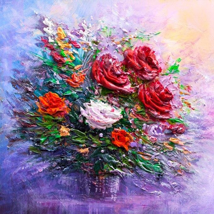 №0699 Ваза с рози импасто II. Картина с ефектен ръчен релефен финиш