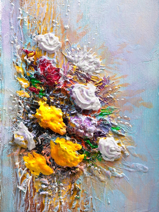 №0700 Букет с рози импасто III. Картина с ефектен ръчен релефен финиш