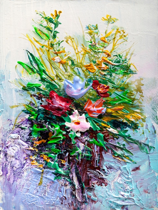 №0704 Букет с рози импасто IV. Картина с ефектен ръчен релефен финиш