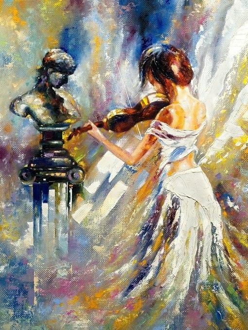 """№0719 """" Музикантка"""". Картина с ефектен ръчен релефен финиш"""