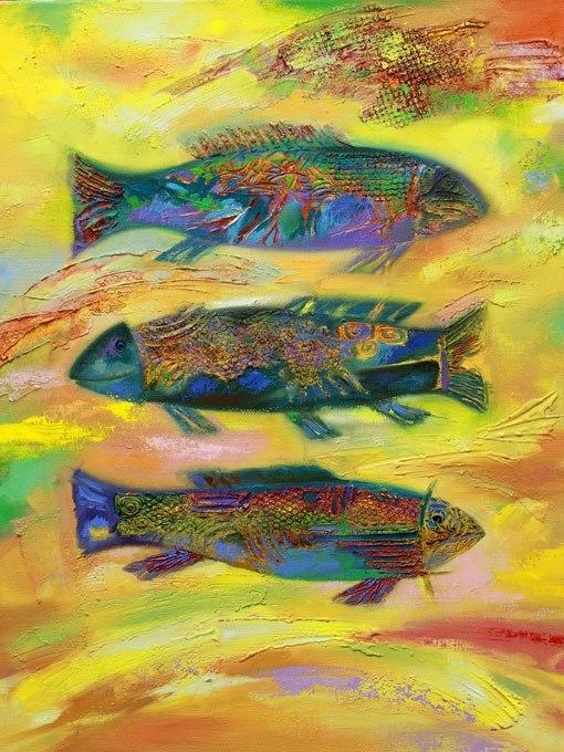 №0722 Златни риби. Картина с ефектен ръчен релефен финиш