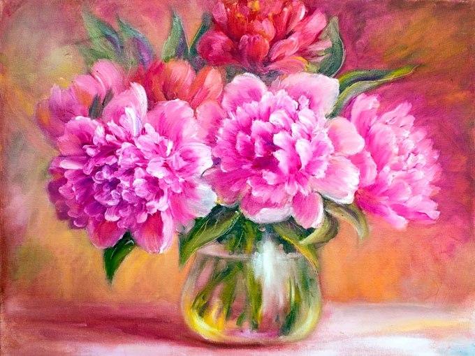 №0859, Розови божури. Картина с ефектен ръчен релефен финиш. Индивидуална изработка по поръчка.