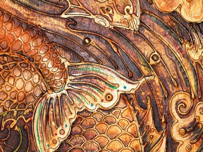 №0860, Златни риби. Картина с ефектен ръчен релефен финиш. Индивидуална изработка по поръчка.