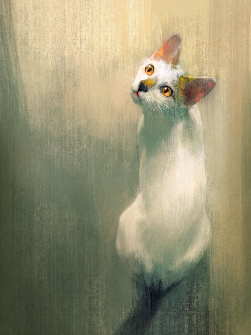 №0887, Бяла котка. Картина с ефектен ръчен релефен финиш. Индивидуална изработка по поръчка.