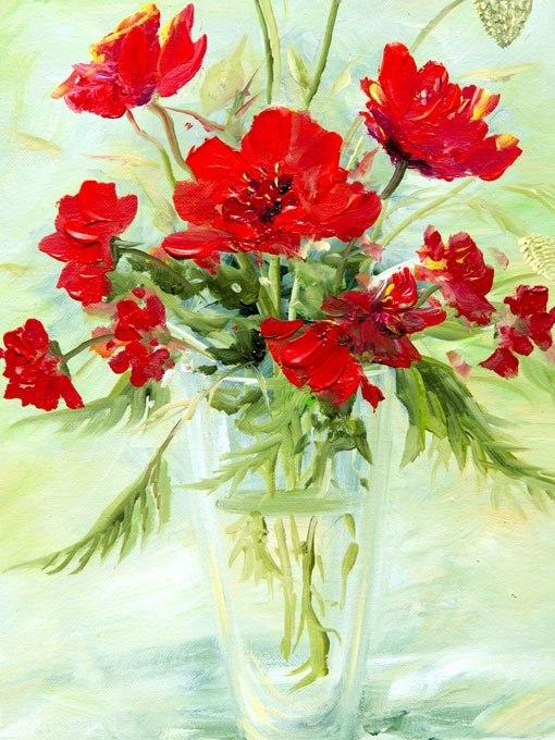 №0901, Ваза с червени цветя. Картина с ефектен ръчен релефен финиш. Индивидуална изработка по поръчка.