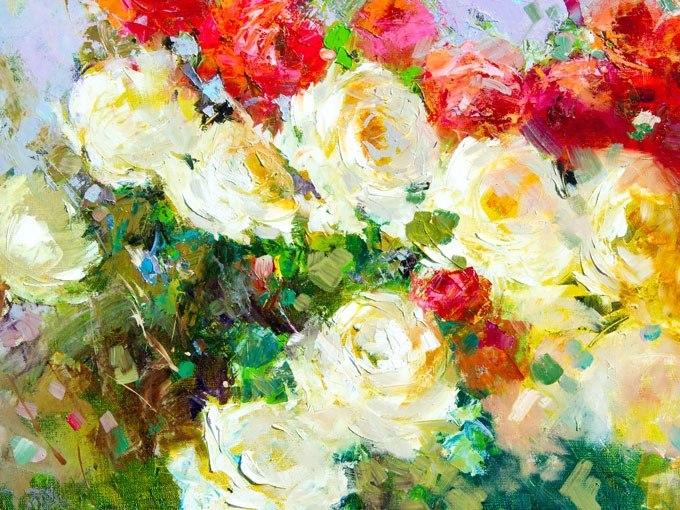 №0905, Бели и червени рози. Картина с ефектен ръчен релефен финиш. Индивидуална изработка по поръчка.