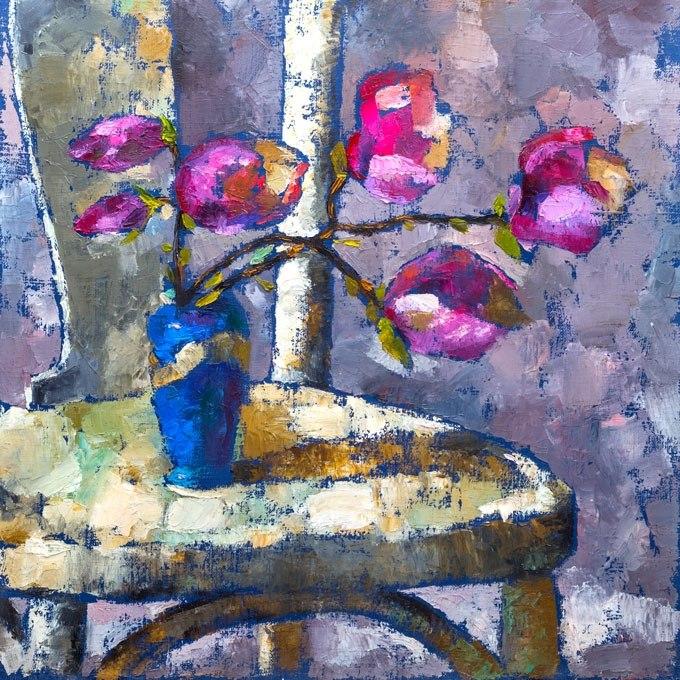 №0915, Ваза с лилави цветя. Картина с ефектен ръчен релефен финиш. Индивидуална изработка по поръчка.