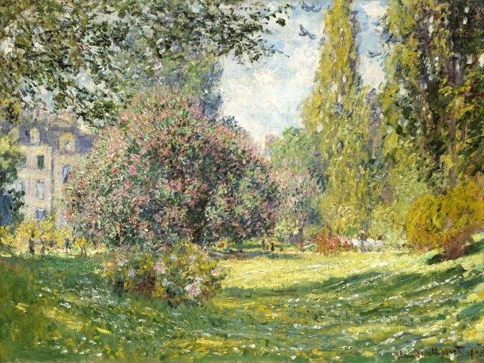 """№0931, """"Пейзаж: Паркът Монсо"""" от Клод Моне. Картина с ефектен ръчен релефен финиш. Индивидуална изработка по поръчка."""