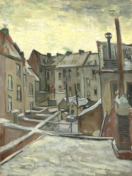 """№0934, """"Houses seen from the back"""" от Ван Гог. Картина с ефектен ръчен релефен финиш. Индивидуална изработка по поръчка."""