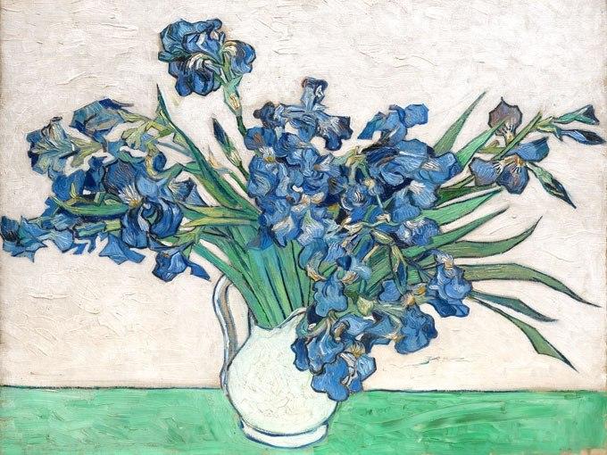 """№0936, """"Ириси"""" от Ван Гог. Картина с ефектен ръчен релефен финиш. Индивидуална изработка по поръчка."""