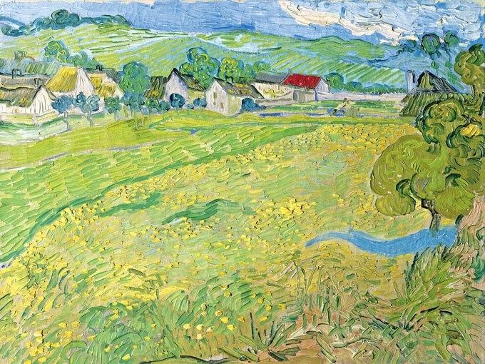"""№0938, """"Les Vessenots in Auvers"""" от Ван Гог. Картина с ефектен ръчен релефен финиш. Индивидуална изработка по поръчка."""