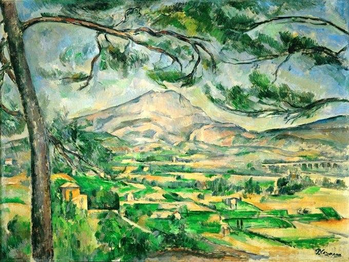 """№0939, """"Mont Sainte-Victoire"""" от Пол Сезан. Картина с ефектен ръчен релефен финиш. Индивидуална изработка по поръчка."""